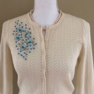 Caslon Embroidered Sweater Size Small Petite
